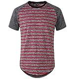Moomphya Men's Long Sleeve Raglan Jersey Shirt Hipster Hip Hop Basic Swag Curved Hem Baseball T Shirt (X-Large, Red Stripe)