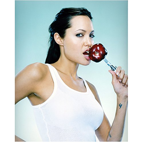 Angelina Jolie Wearing White Tank Biting Apple Holding with Knife 8 X 10 Inch Photo (Apples Photo Border)
