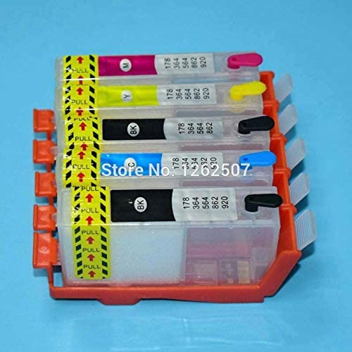 5Colors 364Xl Refillable Ink Cartridge With Arc Chip for HP 364 7510 B8550 C5324 C5380 C6324 C6380 D5460 C309 C310A C410 Printer Printer Spare Parts