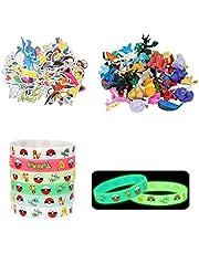 Herefun Pearl Figuurset, minifiguren (48 stuks) + lichtgevende siliconen armband (18 stuks) + sticker (50 stuks), speelgoedset feestjes voor volwassenen en kinderen