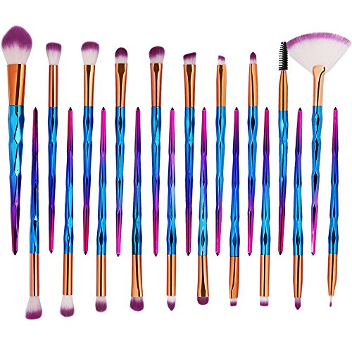 KOLIGHT Pack of 20pcs Cosmetic Eye Shadow Sponge Eyeliner Eyebrow Lip Nose Foundation Powder Makeup Brushes Sets (pink)