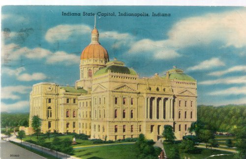 - Vintage Post Card: Indiana State Capitol, Indianapolis, Indiana, Post Stamped South Bend, 1955