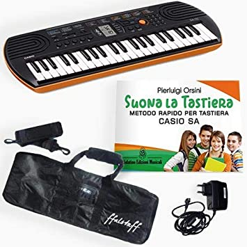 Kit Piano Teclado Casio SA 76, cargador Casio, bolsa ffalstaff, metodosuona la