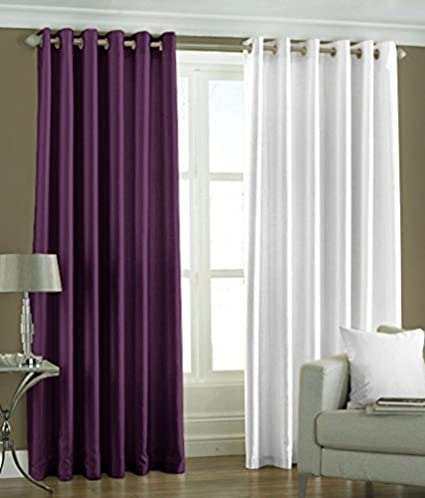 6e0765e2d6 Buy Bagy Set of 6 Piece Premium Solid Fancyt Elegant Ringtop Plain Eyelet  9ft Long Door Curtains - Purple   White Online at Low Prices in India -  Amazon.in