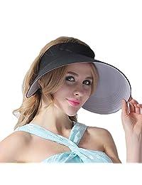 CACUSS Women's Summer Sun Hat Large Brim Visor Adjustable Velcro Packable UPF 50+