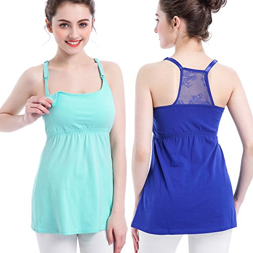 TANZKY 3PACK Nursing Tops Tank Cami Maternity Shirt Sleep Bra for Breastfeeding (Small, Royal Blue/Light Green (2/Pack))