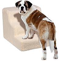Yaheerech 3 Pasos Escalera de Perros Gatos Mascotas con Fundas Extraíble Color Beige