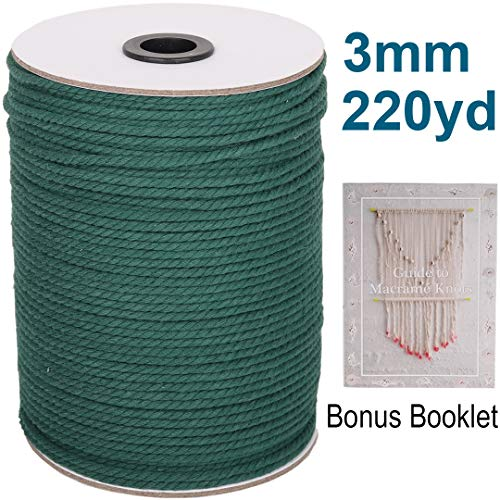 XKDOUS Deep Green Macrame Cord 3mm x 220yards, Colored Macrame Rope, 3 Strand Twisted Cotton Rope Macrame Yarn, Colorful Cotton Craft Cord for Wall Hanging, Plant Hangers, Crafts