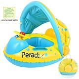 Peradix Infant Pool Float with Canopy Inflatable Baby Water Float Boat with Sunshade for Pool Swimming Ring Floater Raft Toys for Toddlers Kids