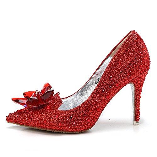 De De Las De Cenicienta Nupcial Red Mujeres Talones Los Boda 5CM Zapatos 33 9 Cristal De Rhinestone De Altos MUYII xfqPX67