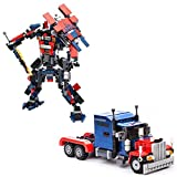 Happy GiftMart Optimus Prime Transformer Convert From Truck to Robot with 377 Lego like Building Blocks Pieces.