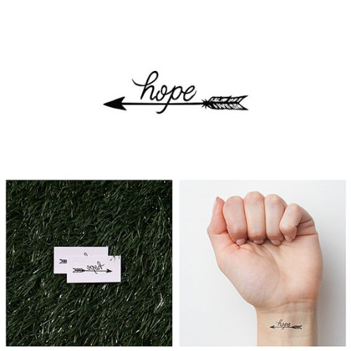 Tattify Hope Temporary Tattoo - Fire Away (Set of 2) - Other Styles Available - Fashionable Temporary Tattoos (Hope Tattoo)