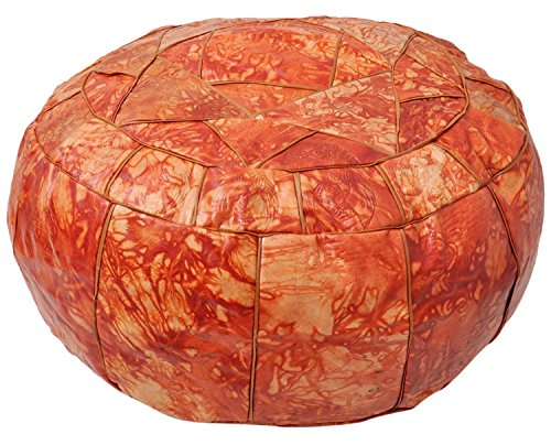 (Egyptian Moroccan Handmade Genuine Leather Ottoman Pouf Large (Patched Orange))