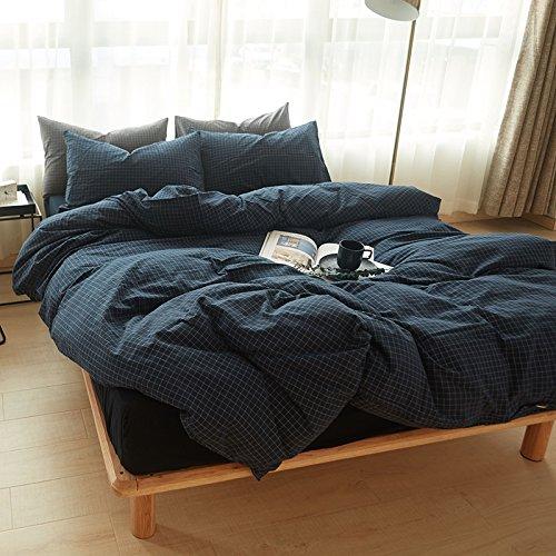 Lavado de algodón japonés de Cuatro Piezas de Ropa de Cama de algodón Plaid Manta de
