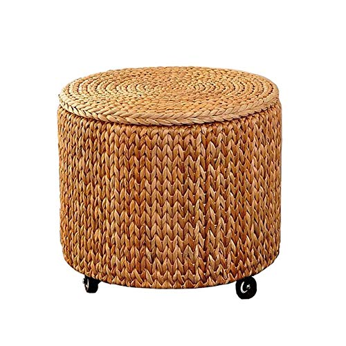 Funlea Rotatable Dining Stool Round Storage Ottoman Rattan Footstool Coffee Table Stool Chair Rustic Style Pouf Suitable with Universal Wheel for Home Living Room Courtyard Bedroom