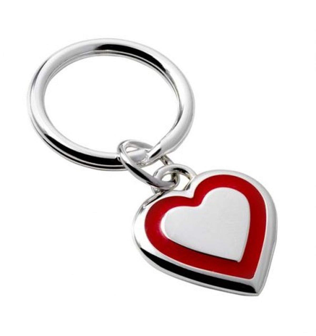 llavero con forma de corazon rojo y plateado