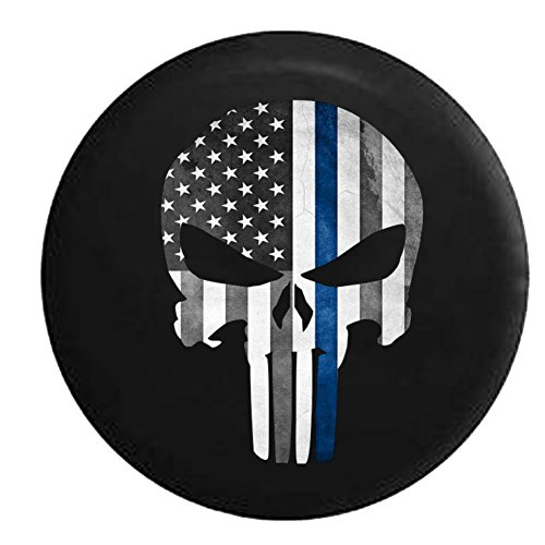 Punisher Skull Military Sniper Thin Blue Line Police Support Spare Jeep Wrangler Camper SUV Tire Cover 31 in