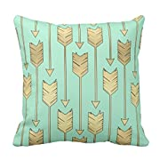 Zazzle Boho Mint and Faux Gold Arrows Pattern Throw Pillow 16  x 16