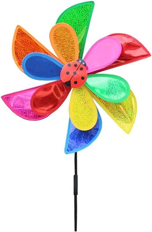VIccoo Wind Spinner, Madera Girasol Molino Molino de Viento Molinillos de Viento Jardín casero Decoración de jardín Niños - Rosa Caliente: Amazon.es: Hogar