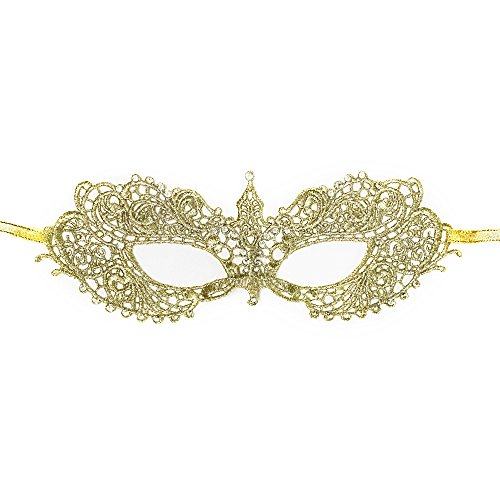 New Rose Gold Color Women Extravagant Laces Mask Laser Cut Venetian Halloween Masquerade Mask Costume Extravagant Inspire Design (GOLD) ()