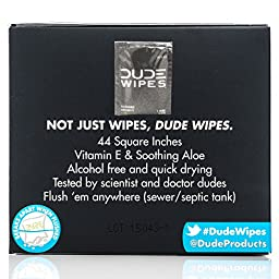 DUDE Wipes, Flushable Single Wipes For Travel, Unscented with Vitamin-E & Aloe, 100% Biodegradable, (30 Each, Pack of Two)