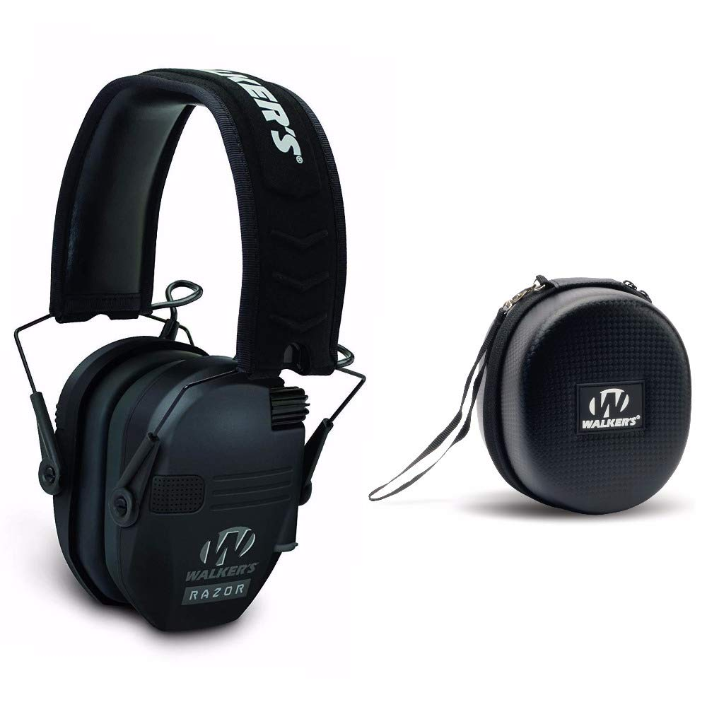 Walkers Razor Slim Electronic Shooting Hearing Protection Muff (Black) with Protective Case by Walkers