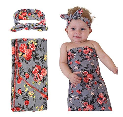 Quest Sweet Newborn Baby Swaddle Blanket,Receiving Blankets,Blanket&Headband Set (1-3 Pack)