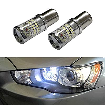 iJDMTOY (2) CANbus Error Free Xenon White 1156 Mirror Reflector LED Bulbs for 2008-2015 Mitsubishi Lancer or Evolution X Daytime Running Lights (For Factory Equipped HID Headlight ONLY)