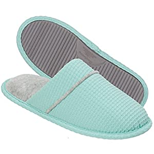 Dearfoams Women's Waffle Knit Closed Toe Scuff Slipper - Padded Slip-ONS with Memory Foam Insole and Rubber Sole