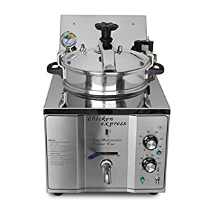 Ridgeyard 2400W Electric Pressure Fryer Deep Fryer Cooker Stainless Steel with Timer & Temperature Controls, Chicken Fryer for Commercial Restaurants, Fast Food, Snack Bars,Parties 15 L with Basket