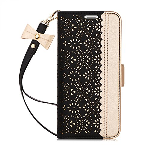WWW iPhone Xs Max (6.5 inch) 2018 Case, [Luxurious Romantic Carved Flower] Leather Wallet Case with [Inside Makeup Mirror] and [Kickstand Feature] for iPhone Xs Max 6.5 Inch (2018 Released) Black