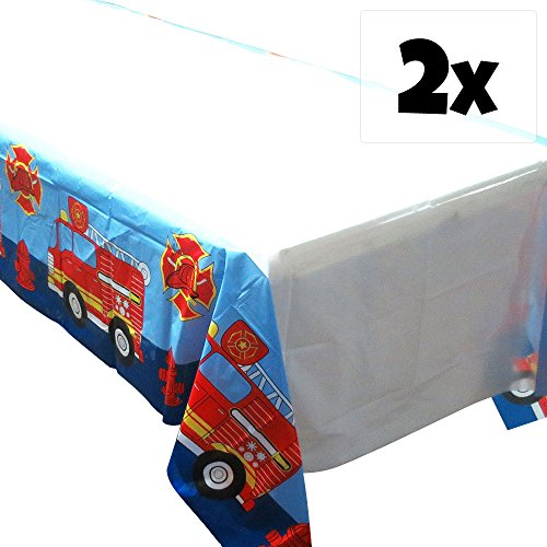 Fire Truck Tablecovers (2), Fire Engine Party Supplies, Firefighter Events