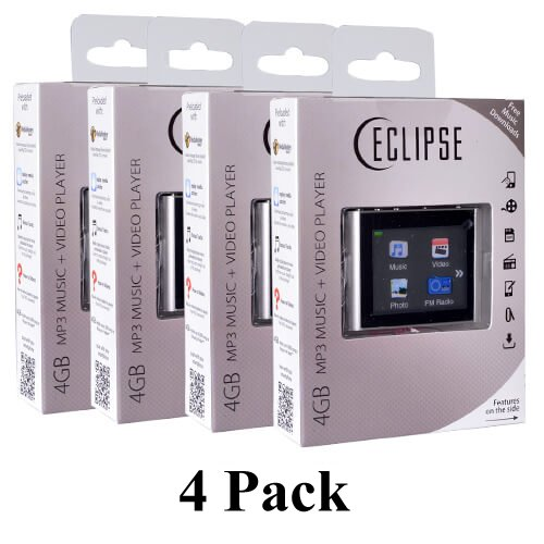 """4 Pack Eclipse T180 1.8"""" 4GB MP3 Clip Style Audio LCD Vid..."""