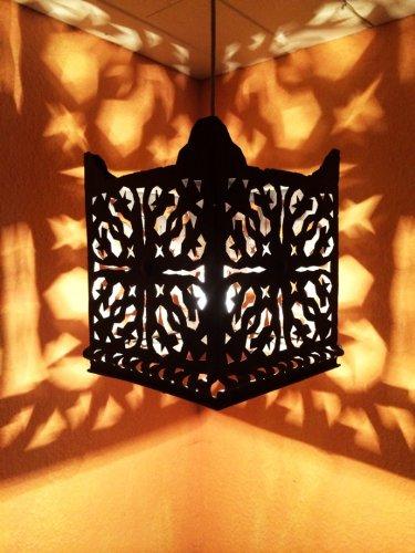 Orientalische Lampe Pendelleuchte Schwarz Randa E27 Lampenfassung   Marokkanische Design Hängeleuchte Leuchte aus Marokko   Orient Lampen für Wohnzimmer, Küche oder Hängend über den Esstisch