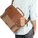 "Lifewit Leather Vintage Canvas Laptop Bag, 13""(L)x10.5""(H) x 4.1""(W), Coffee"