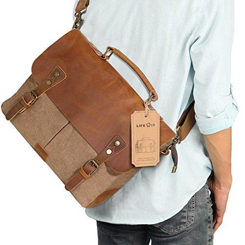 Lifewit Leather Vintage Canvas Laptop Bag, 13
