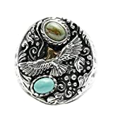 Adisaer Biker Rings Silver Ring for Men Embossed Eagle Turquoise Ring Size 8 Vintage Punk Jewelry