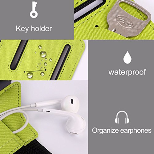 Large Product Image of VUP Universal Running Armband for IPhone 7 7Plus 8 8Plus X 6 6S Plus SE, Galaxy S8 S7 J7 J3 S6 S5, Google pixel, LG V20 V30 G6 K20 G5 Stylo Aristo, HTC U11, MOTO G5 Compatible with Mobile Case (Green)