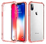 Clear iPhone X Case,Ultra Slim Anti-Scratch Four Corners Thicken Shockproof and Drop Protection,Non-Slip Support Wireless Charging for Apple iPhone X /10 Pink