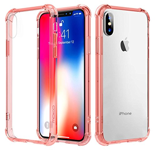 Clear iPhone X Case,Ultra Slim Anti-Scratch Four Corners Thicken Shockproof and Drop Protection,Non-Slip Support Wireless Charging for Apple iPhone X /10 Pink by Baianju