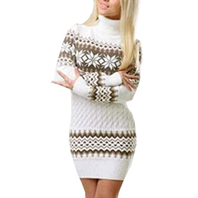 bd59b61620a Robe Femme Tricot Pull Col Roulé Chic à Manches Longues Hiver Flocon de  Neige féminin imprimé