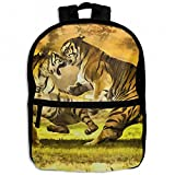 Tiger Wild Wrestling Childrens School Backpacks Casual Daypack Travel Outdoor For Boys And Girls