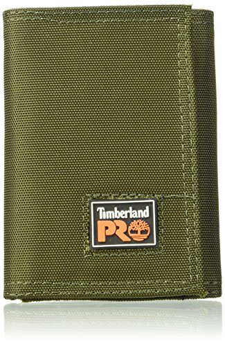 (Timberland PRO Men's Cordura Velcro Nylon Rfid Trifold Wallet with ID Window, Olive, One Size)