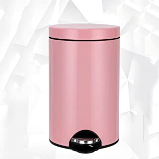 Trash Can Ali@ Stainless steel foot-type home covered (Color : Gold, Size : 12L)