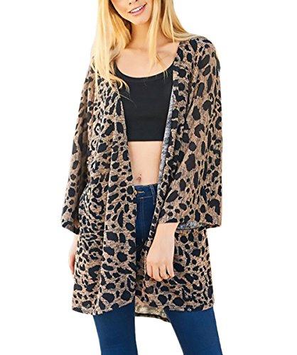 Cardigan Señora Casual Mujeres Camisas Ropa Otoño Cárdigans Leopardo Abrigos De Primavera Rebecas Basic Moda Tops Abiertas Las Manga Largos Camisetas A4qpgPSP