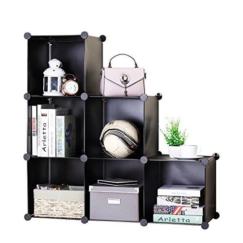 Finnhomy DIY 6 Cube Organizer StorageCabinet Bookcase Storage Organizer Shoes Storage ModularStorageCabinet Wardrobe Closet Organizer System for Clothes (Modular Storage Cabinet)