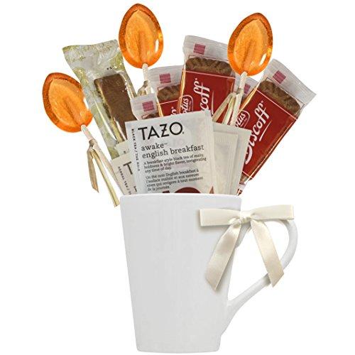 Cottage Lane Hot Tea Mug Boxed Set Featuring Tazo Herbal Tea Bags, Honey Spoon Stirrers, Nonni's Biscotti, and Biscoff Lotus Cookies (Awake English Breakfast Tea)