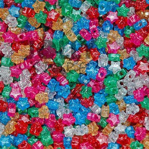 Star Shaped Pony Beads Multi Translucent with Glitter Sparkle for Crafts Kandi Crafting Key Chain Bracelet Necklace Jewelry Accessories Pendants