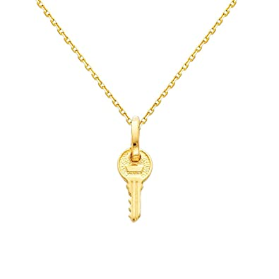 Amazon 14k yellow gold key pendant with 09mm cable chain amazon 14k yellow gold key pendant with 09mm cable chain necklace 16 jewelry aloadofball Gallery