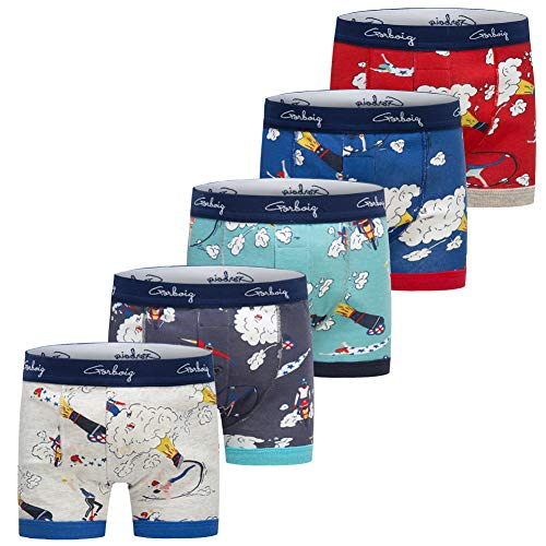 Gorboig Boys 5-Pack Boxer Briefs Cars Truck Kids Underwear(7/8Y,Rocket)